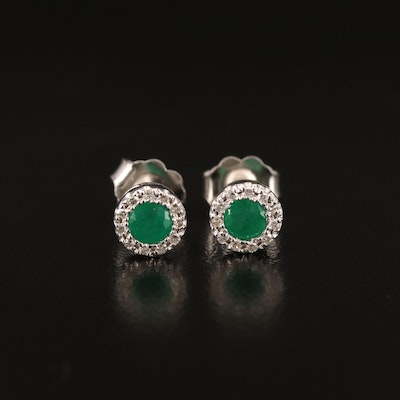14K Emerald and Diamond Stud Earrings