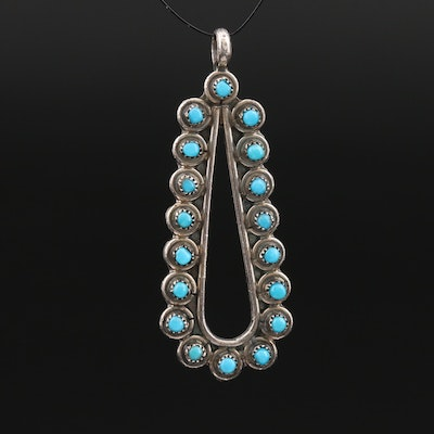 Sterling Turquoise Scalloped Petite Point Pendant