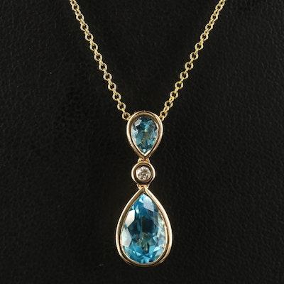 EFFY 14K Toapz and Diamond Pendant Necklace