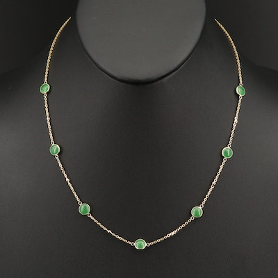 EFFY 14K  Diamond and Jadeite Station Necklace