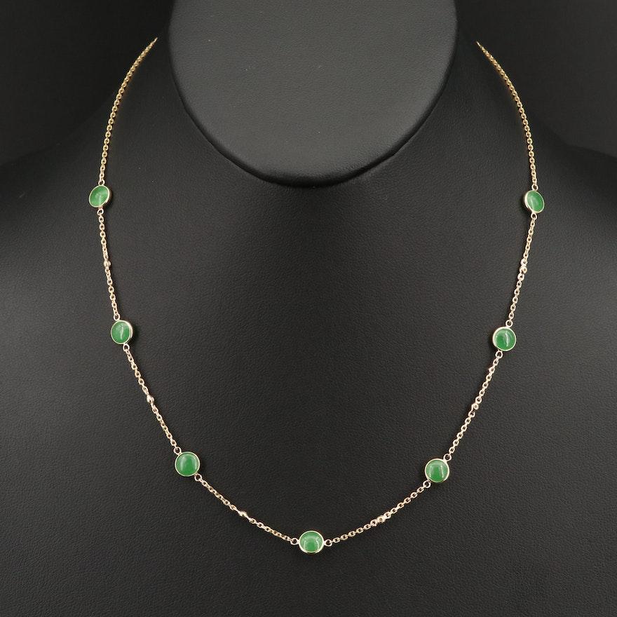 EFFY 14K  Diamond and Jadeite Station Necklace
