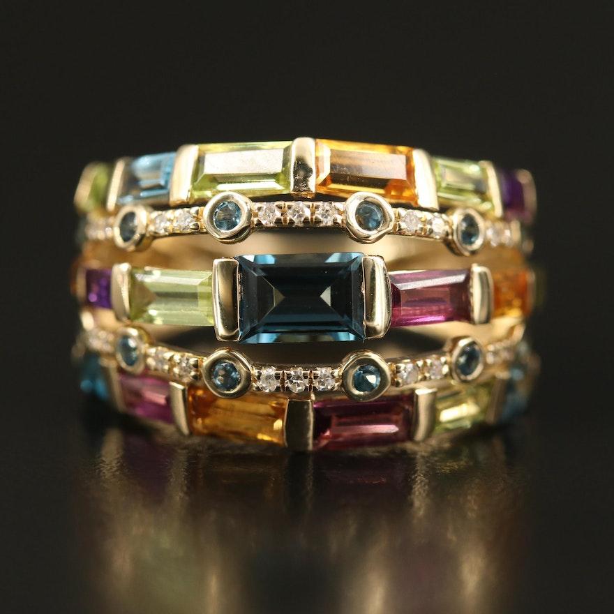 EFFY 14K Gemstone and Diamond Multi-Row Ring