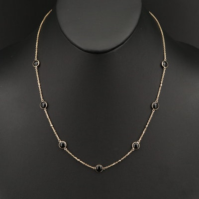 EFFY 14K Black Onyx and Diamond Station Necklace