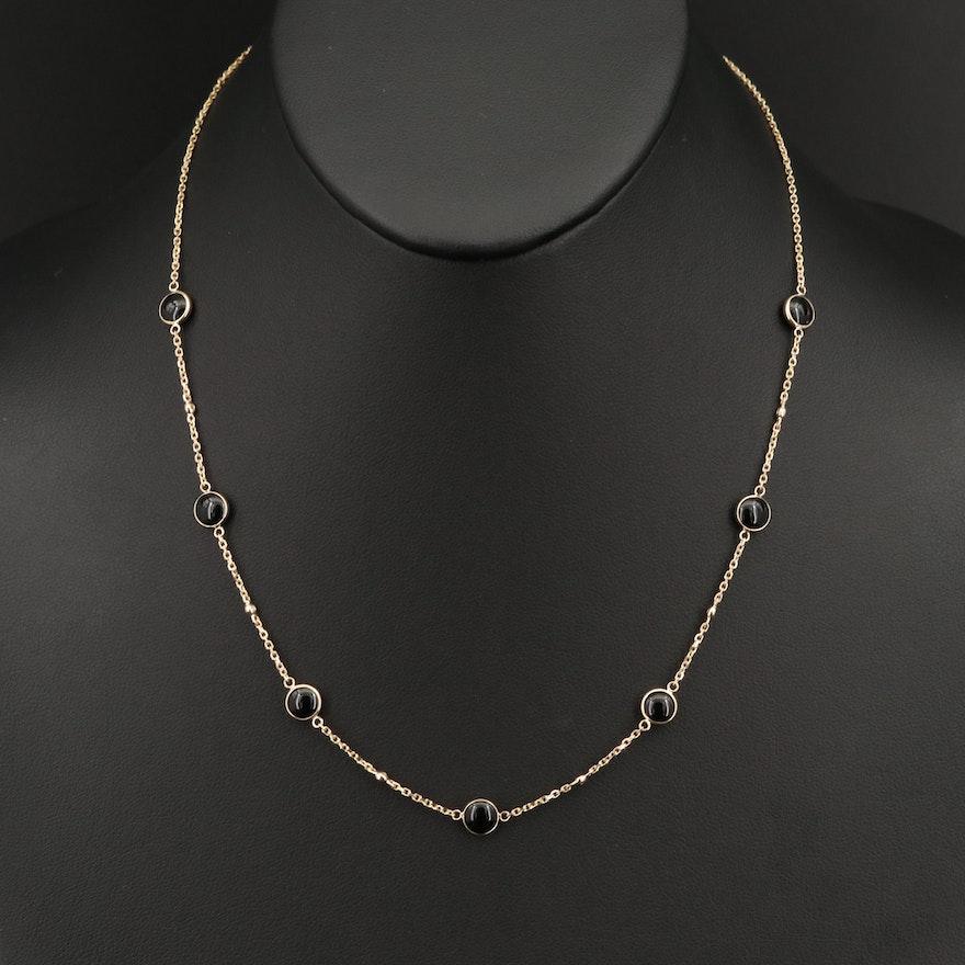 EFFY 14K Black Onyx and Diamond Station Necklace