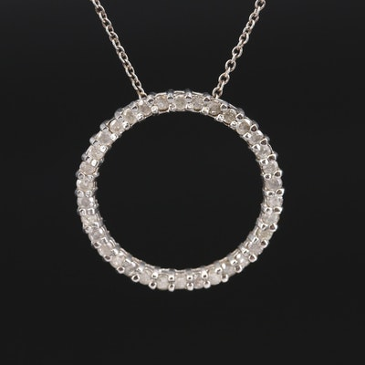 Sterling Diamond Circle Pendant on Italian Chain