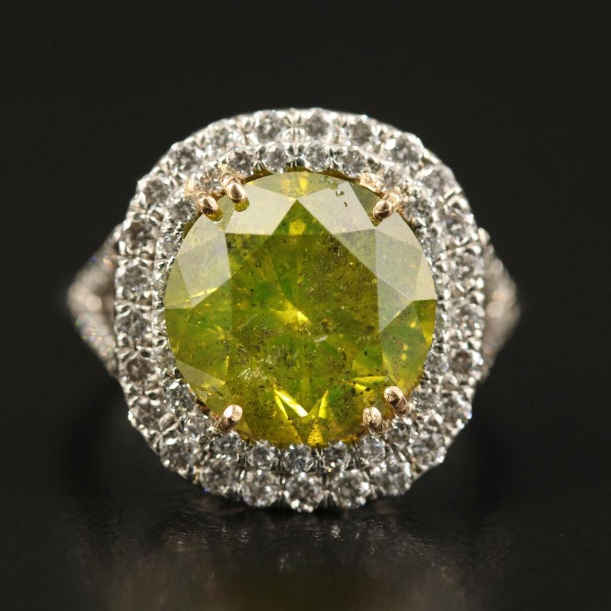 18K 5.91 CTW Diamond Ring with Platinum Accent