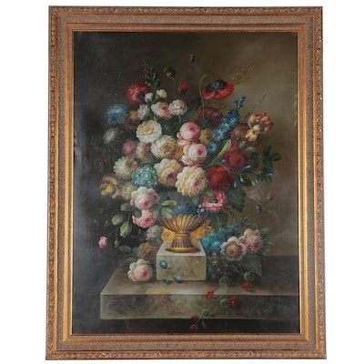 Large-Scale Dutch Style Floral Still Life Oil Painting, circa 2000