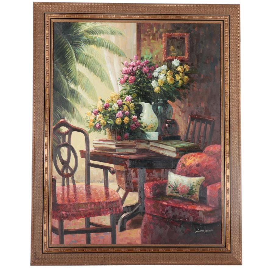Interior Scene Oil Painting, circa 2000