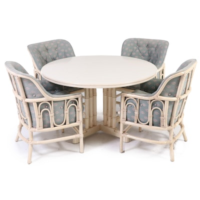 Painted Faux Bamboo Dining Set, Mid to Late 20th Century