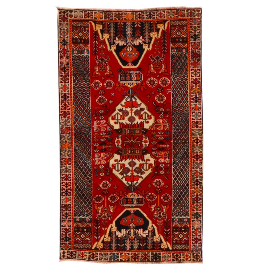 3'6 x 6'2 Hand-Knotted Persian Qashqai Area Rug