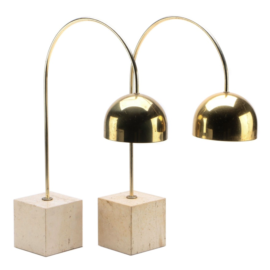Pair of Mid Century Modern Brass and Travertine Arc Table Lamps, Mid-20th C