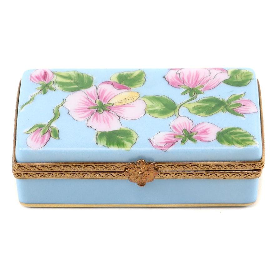 Limoges Import Hand-Painted  Limoges Porcelain Trinket Box
