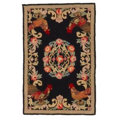 1'9 x 2'8 Hand-Hooked American Folk Style Pictorial Accent Rug
