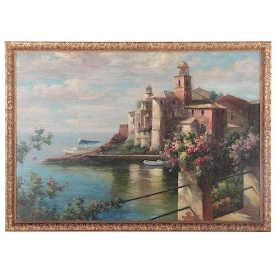 Mediterranean Coastal Landscape Oil Painting, circa 2000