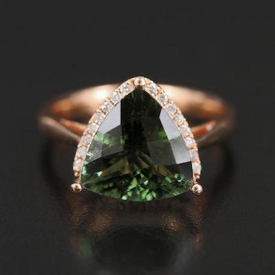14K Rose Gold 3.60 Green Tourmaline and Diamond Ring
