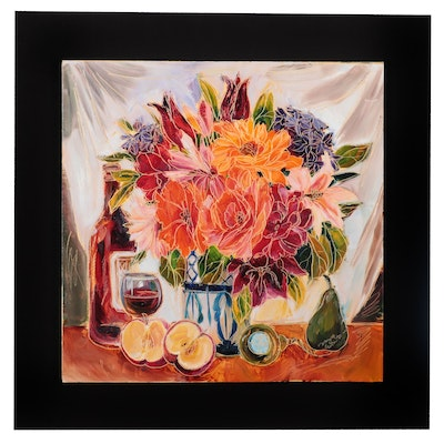 Floral Still Life Oil Painting, circa 2000