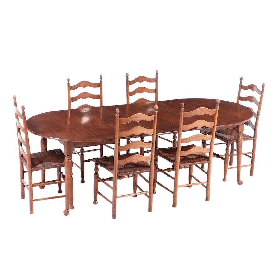 Seven-Piece Colonial Style Cherrywood Dining Set, Including Henkel-Harris
