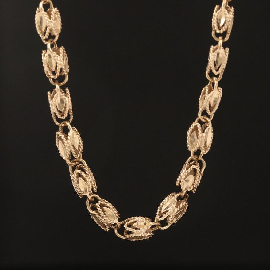10K Graduated Fancy Link Chain