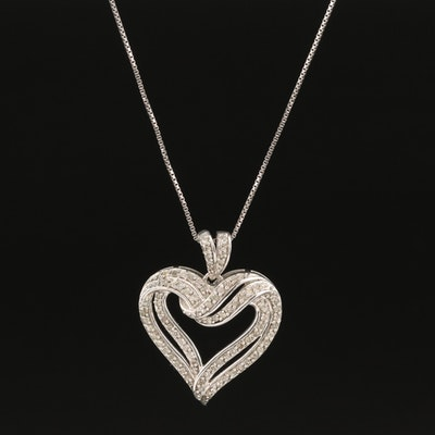 Sterling Silver and Diamond Heart Pendant Necklace