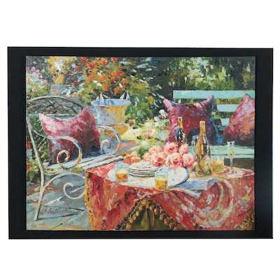 Garden Tablescape Oil Painting, circa 2000