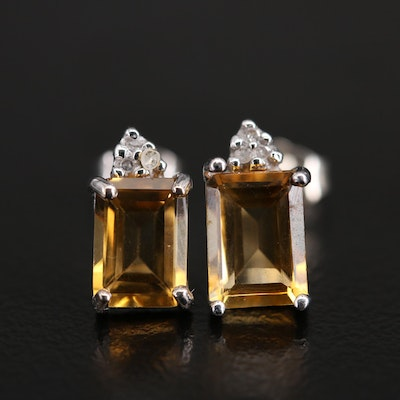 10K Citrine and Diamond Stud Earrings