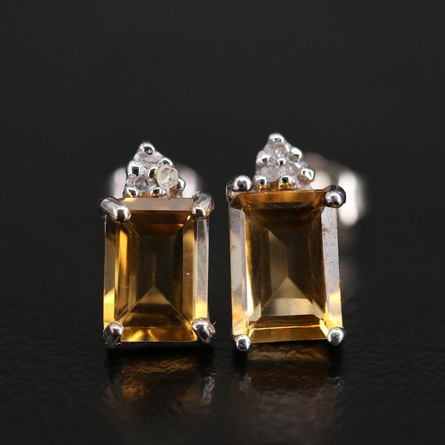 10K Citrine and Diamond Stud Earrings