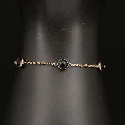 EFFY 14K Black Onyx and Diamond Station Bolo Bracelet