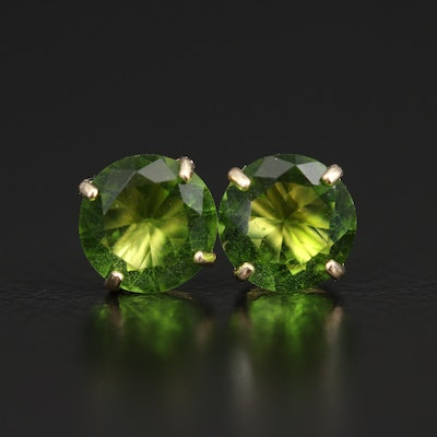 10K Round Faceted Green Glass Stud Earrings