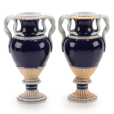 Meissen Porcelain Snake Handled Cobalt and Gilt Vases, Late 19th Century