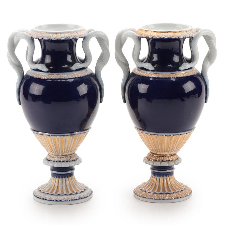 Meissen Porcelain Snake Handled Cobalt and Gilt Vases, Late 19th Century