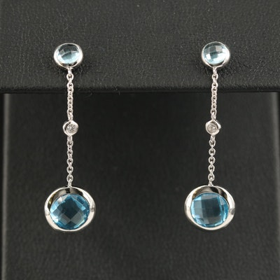 EFFY 14K Topaz and Diamond Bezel Drop Earrings