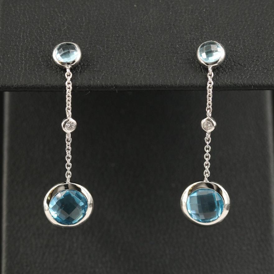 EFFY 14K Topaz and Diamond Bezel Drop Earrings