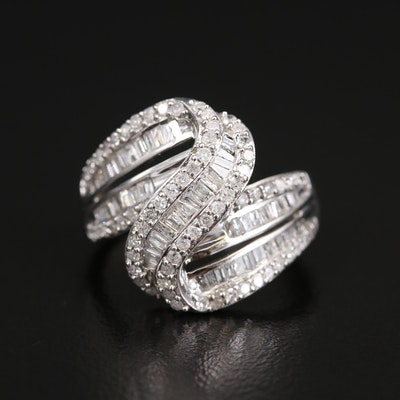 10K 1.05 CTW Diamond Crossover Swirl Ring