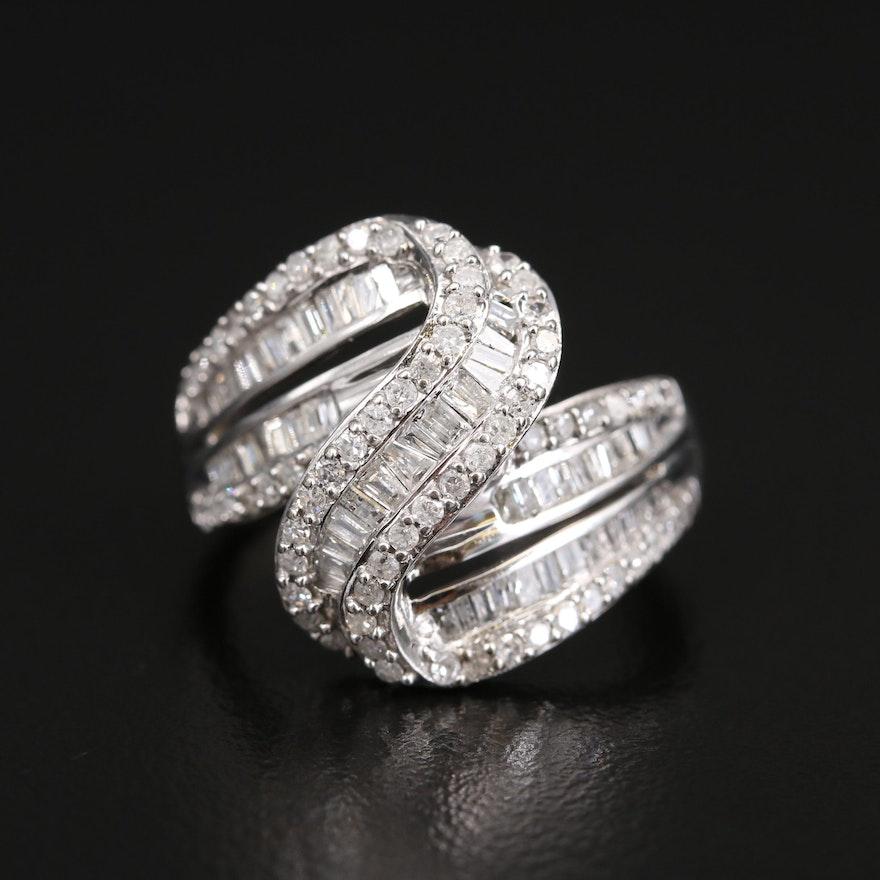 10K 1.05 CTW Diamond Crossover Swirl Ring