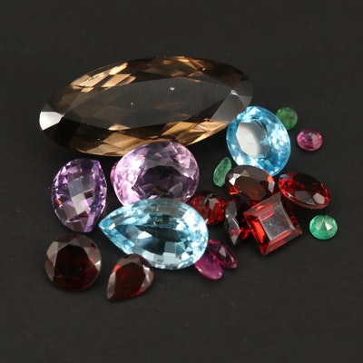 Loose Mixed Gemstones Including Smoky Quartz, Topaz and Garnet