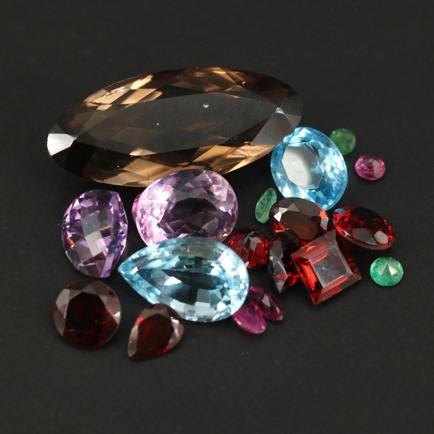 Loose Mixed Gemstones Including Smoky Quartz, Topaz and Garnet