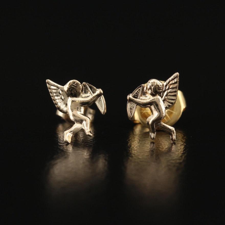 14K Cupid Stud Earrings