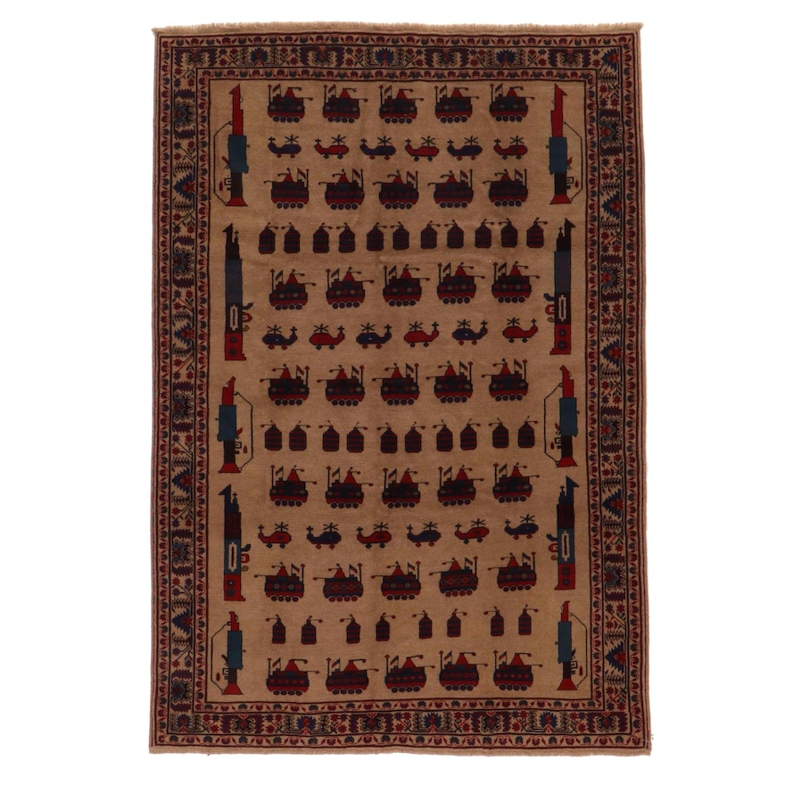 6'11 x 10'3 Hand-Knotted Afghan Pictorial War Rug
