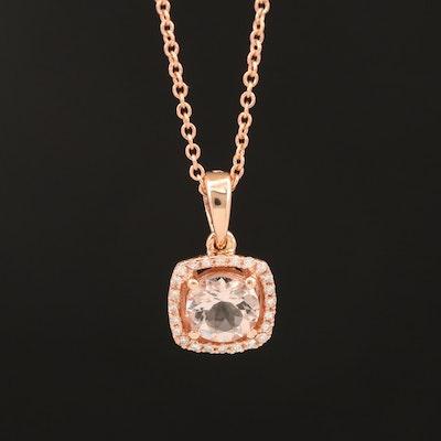 EFFY 14K Rose Gold Morganite and Diamond Halo Pendant Necklace