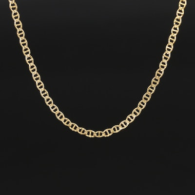 Italian 14K Patterned Mariner Link Necklace