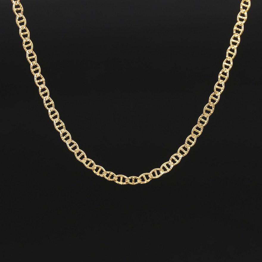 Italian 14K Patterned Mariner Link Necklace