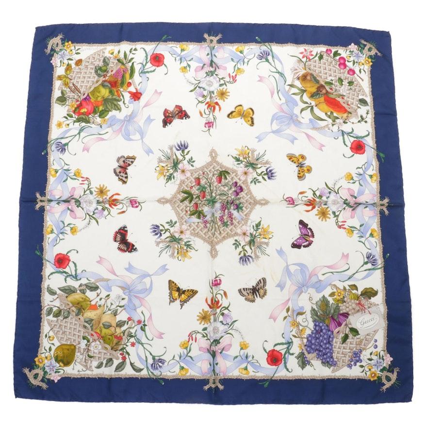 Gucci Botanical Floral Printed Silk Twill Scarf