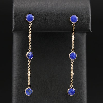 EFFY 14K Lapis Lazuli and Diamond Drop Earrings