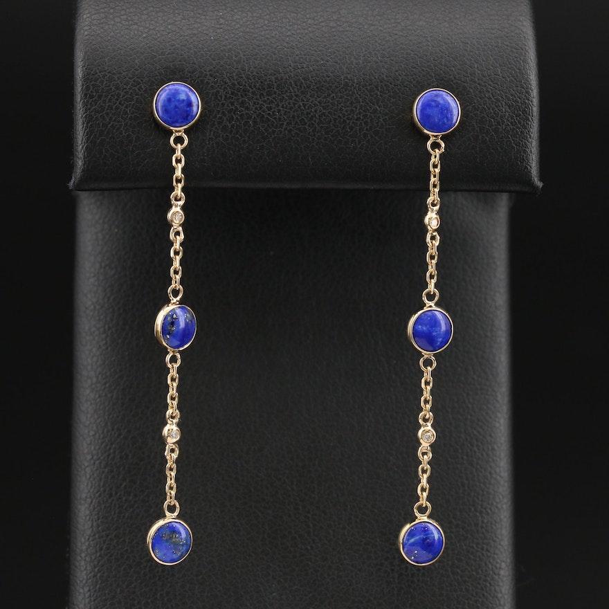 EFFY 14K Lapis Lazuli and Diamond Drop Earrings