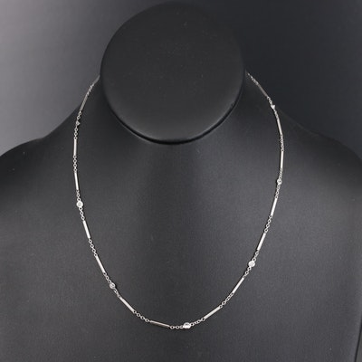 Vintage Platinum Diamond Bar and Chain Station Necklace