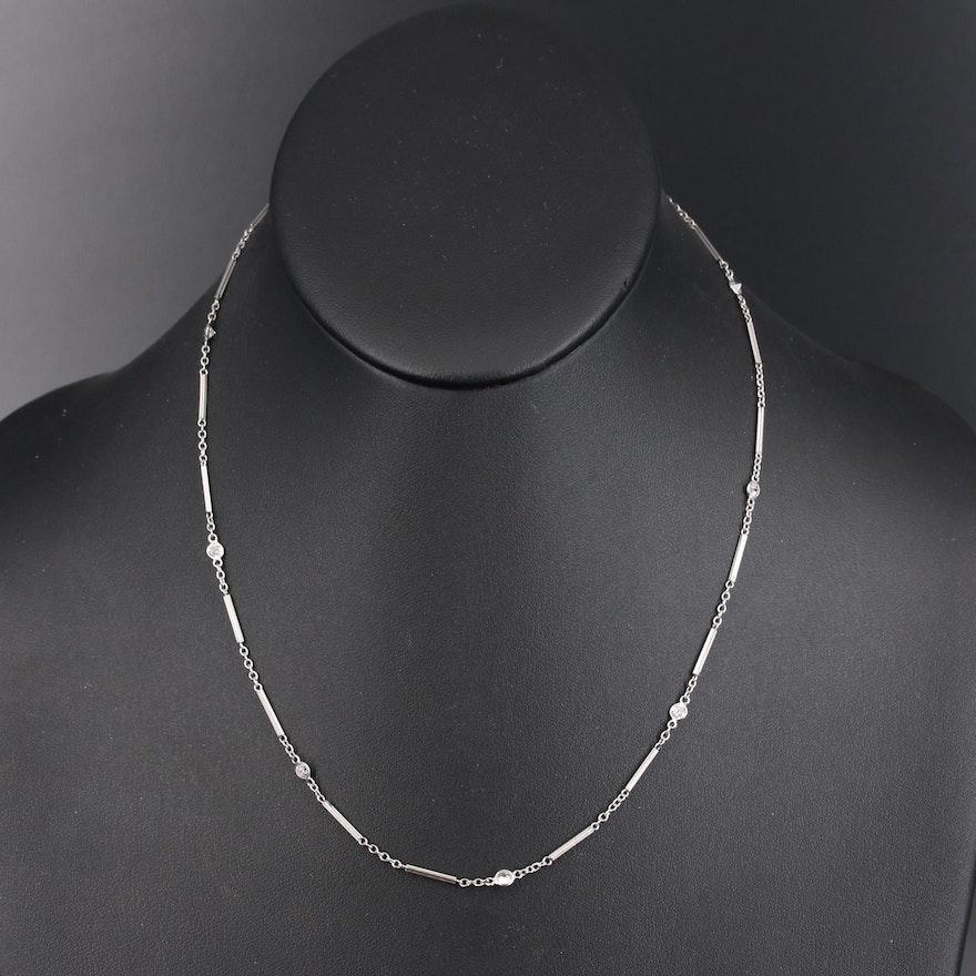 Vintage Platinum Diamond Bar and Chain Station Necklace