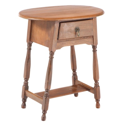 Queen Anne Style Walnut-Stained Side Table, Mid-20th Century