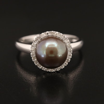 EFFY 14K Pearl with Diamond Halo Ring