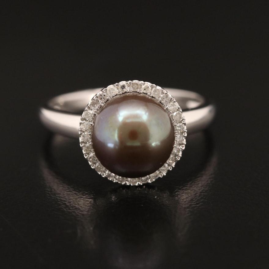 EFFY 14K Pearl with Diamond Halo Ring