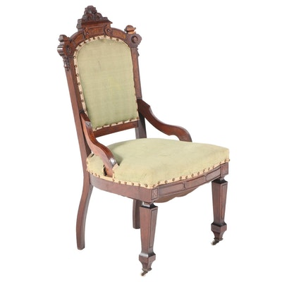 American Renaissance Revival Walnut and Burl Walnut Parlor Chair